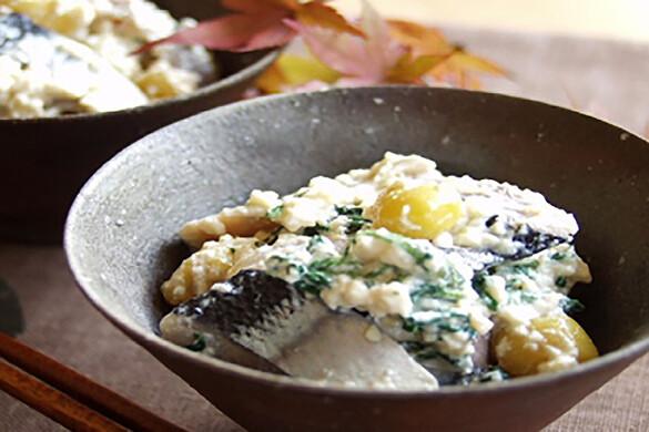 秋刀魚と春菊の白和え