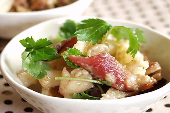 ホッキ貝とレンコンのクルミ味噌