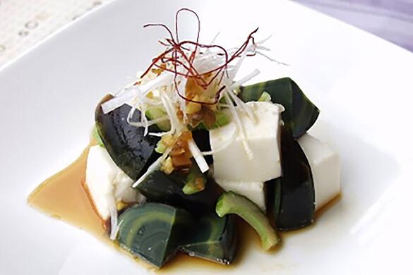 ピータンと豆腐のサラダ ザーサイドレッシング