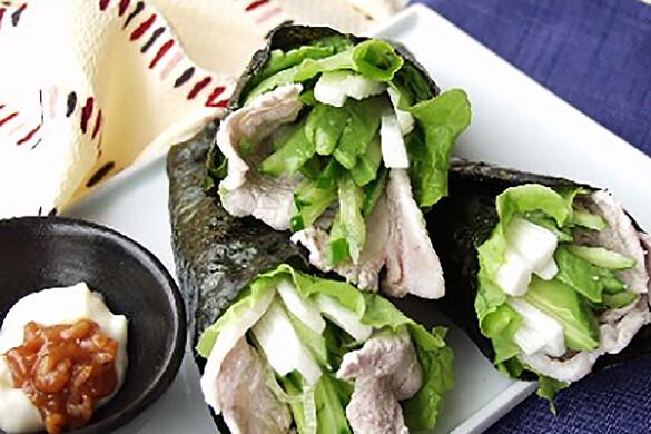 豚シャブのサラダ巻き もろ味噌マヨネーズ添え