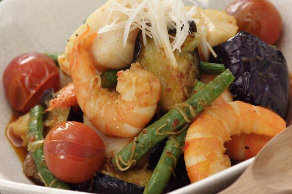 シーフードと揚げ野菜の中華風