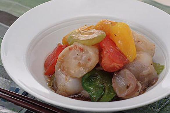 夏野菜と水タコのサラダ