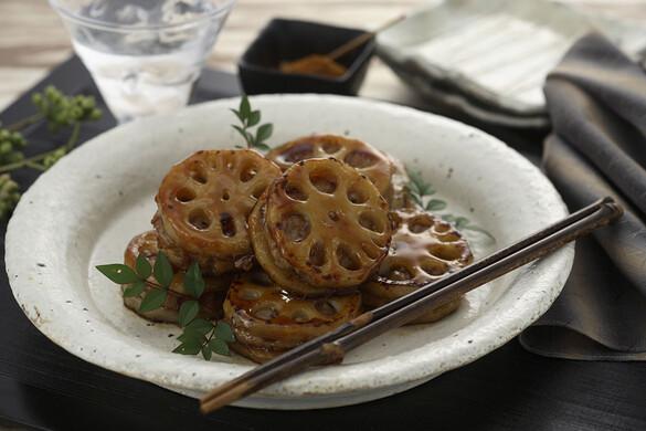 レンコンと豚挽き肉の挟み照り焼き