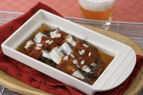 オイルサーディンのチリトマト焼き