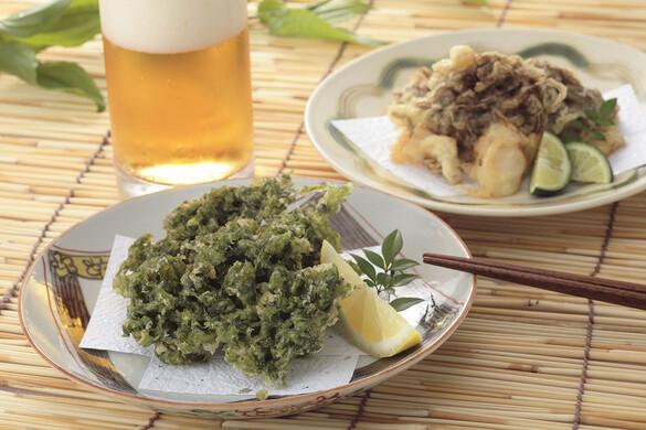 四国:青さのりともずくの天ぷら