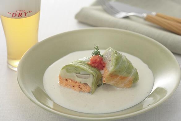 秋鮭ロールキャベツ豆乳仕立て