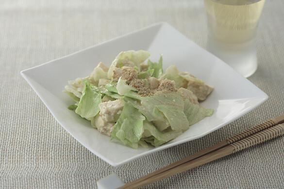 レタスと豆腐のゴマ和え