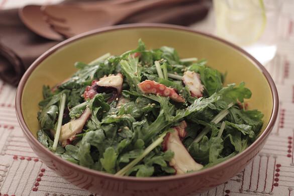 春菊と水菜のタコサラダ