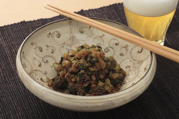 大根菜とカツオ節のゴマ油炒め