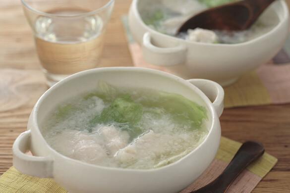 レタスとささ身のスープ