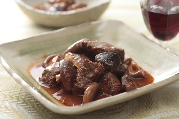 牛肉とキノコの和風トマト煮