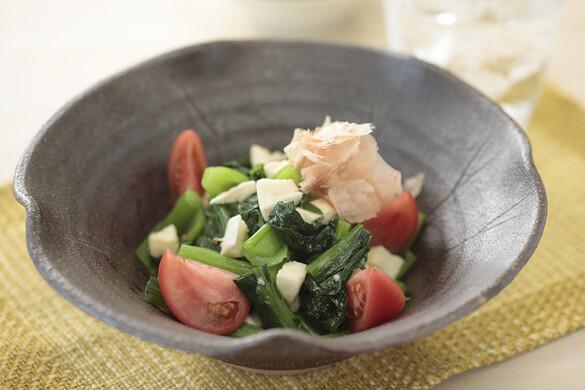 小松菜とモッツァレラチーズの白しょうゆ和え