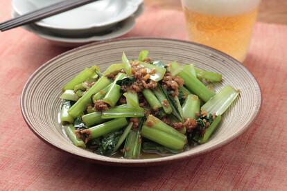小松菜と挽き肉の香り炒め