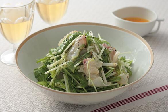 水菜と白身魚のサラダ みかんドレッシング