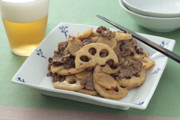 牛肉とレンコンのショウガ味噌炒め