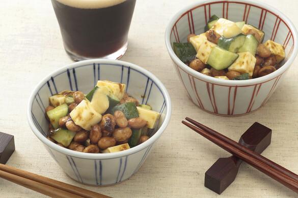 チーズと納豆の海苔の佃煮和え