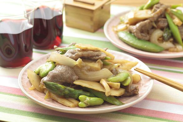 春野菜と牛肉のオイスター炒め