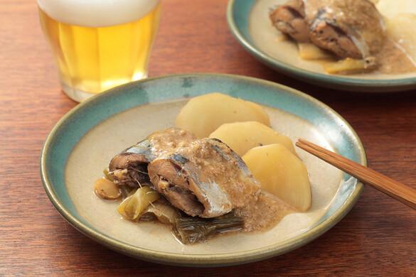 秋刀魚とカブのゴマ味噌煮