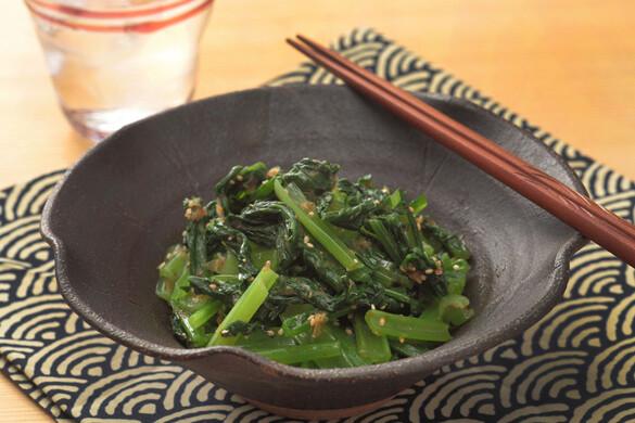 小松菜とカツオ節のだし酢和え