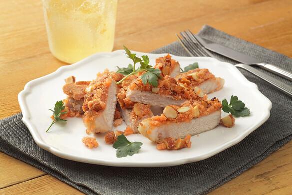 豚ロース肉のアーモンドたらこソテー