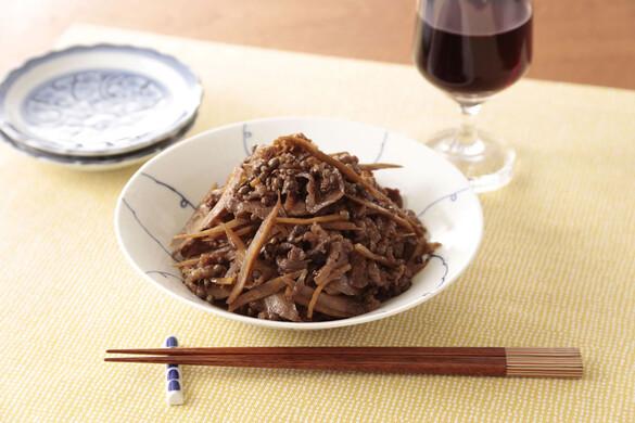 山椒風味の牛肉とゴボウのしぐれ煮