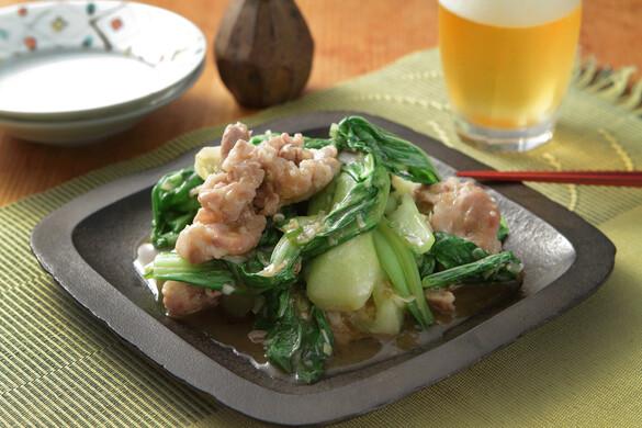 チンゲン菜と豚肉のオイスター炒め