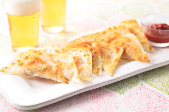 アスパラとハムチーズの焼きワンタン〜簡単3stepおつまみ〜