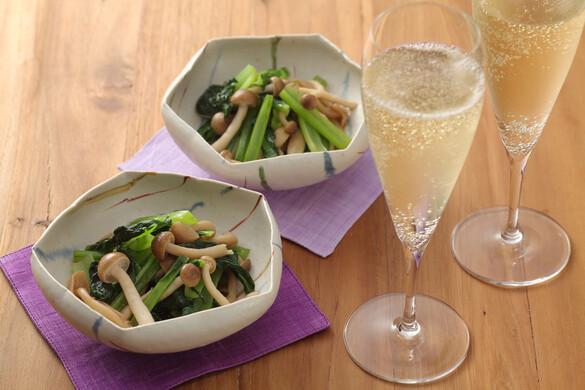 小松菜とシメジの辛子ポン酢