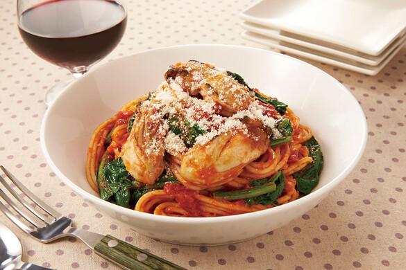 牡蠣のトマトパスタ