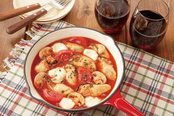牡蠣とチーズのトマトパッツァ