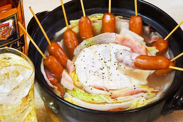 白菜とソーセージ&ベーコンのチーズ鍋