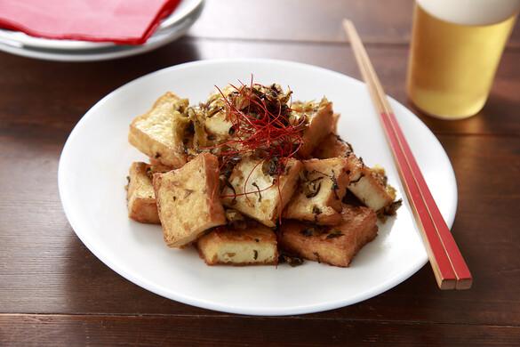 厚揚げと高菜のナンプラー炒め〜簡単3stepおつまみ〜