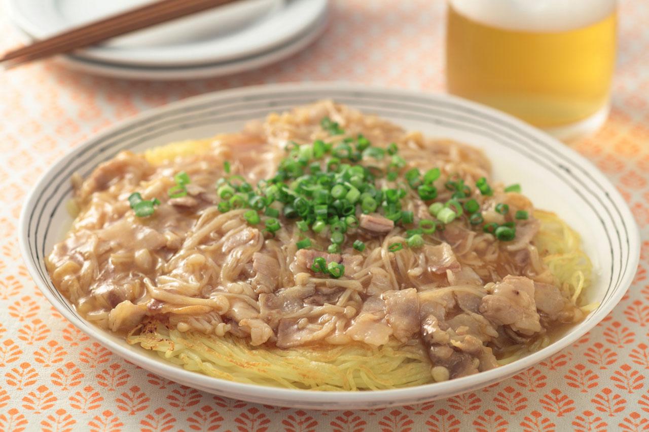 エノキと豚のあんかけ焼きそば おつまみレシピ アサヒビール