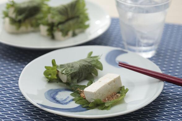 豆腐の大葉巻き