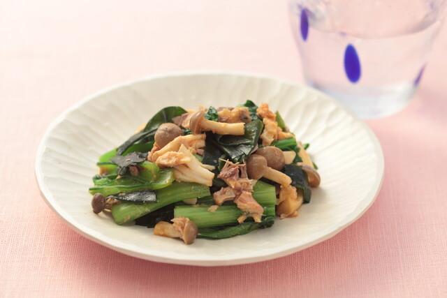 小松菜と鯖缶のピリ辛おひたし
