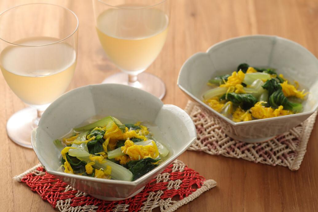 チンゲン菜と菊花の煮浸し