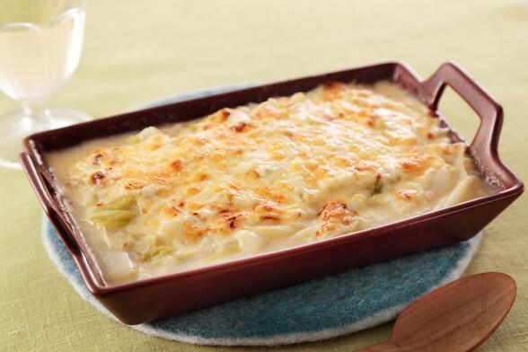 ネギと白菜の味噌グラタン